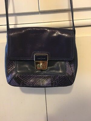 9e1fd354b8 Cole Haan Purple with blue accent Embossed Mini Crossbody Shoulder Handbag