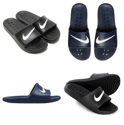 a172b2acb706 Nike Kawa Slides Mens Womens Flip Flops Pool Beach Sliders Shoes Black Navy