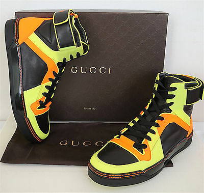5873bc1f19e  865 Authentic GUCCI NEON Leather High-Top Sneakers Shoes 9.5G US-10.5