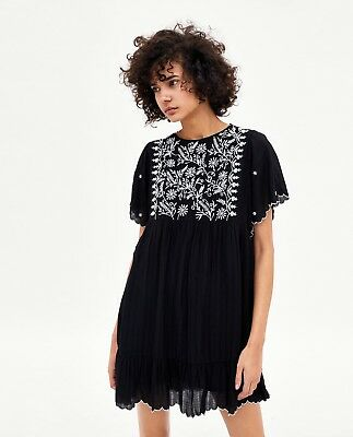 Zara Nwt Embroidered Dress Romper In Black Size S 29 99 Picclick