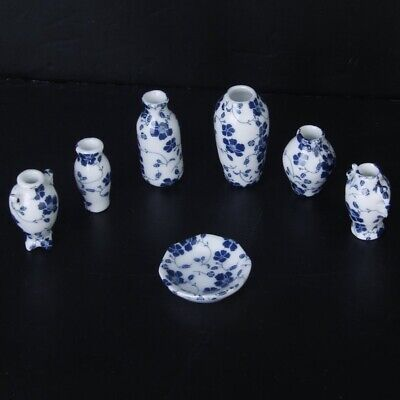 1/12 Dollhouse Miniatures Ceramics Porcelain Vase Blue Vine -7 piece G7D8