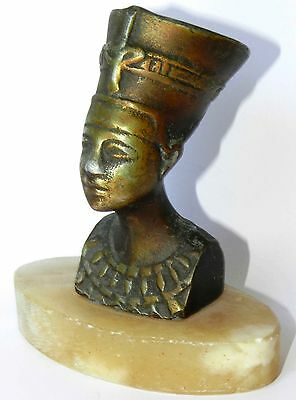 Vtg Antique Bronze Statue Sculpture Egyptian Queen Pharaoh Nefertiti Marble Base