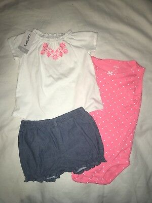 NEW NWT Girls Size 9 Months 3 Piece Carter's Summer Outfit Shorts Tops Set