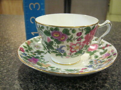 Crown Staffordshire Teacup Cup Saucer Mixed Pink Yellow Flowers Floral Pattern