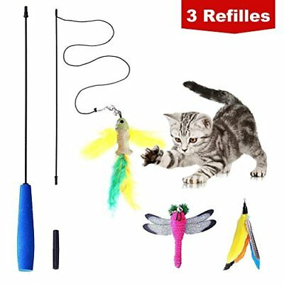 BINGPET Cat Teaser Toy Feather Wand Interactive - Includes 3x Feather Refills