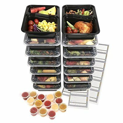 Food containers [14 Pack] 2 Compartment Meal Prep Containers Microwave  Dishwa