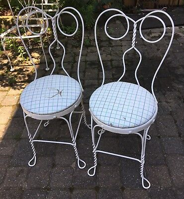 Pair White Twisted Metal Ice Cream Parlor Chairs Bistro Chairs Vintage