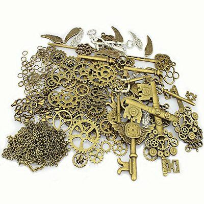 LolliBeads 230 Gram Antiqued BronzeSilver Metal Skeleton Keys and Wings, Bronze
