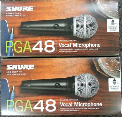 New Shure PGA48 Dynamic Wired Vocal Microphone w/ XLR to XLR Cable (2)