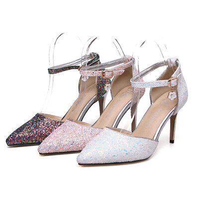 Women's Plus Size Shoes High-Heeled Sandals Shiny Glitter Ankle Strap Pumps S042