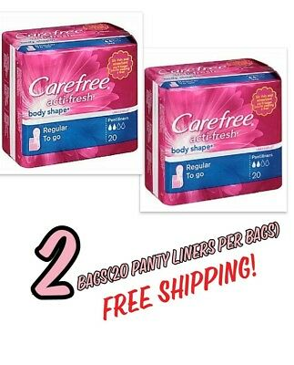 Carefree Body Shape Pantiliners To Go Unscented 2 Bags Free Shipping!