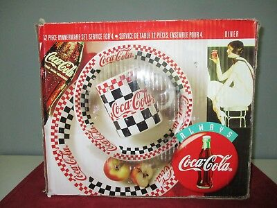 "NIB 1996 ""COCA~COLA""  12 pc. Stoneware DINNERWARE  SET ~ Service for 4"