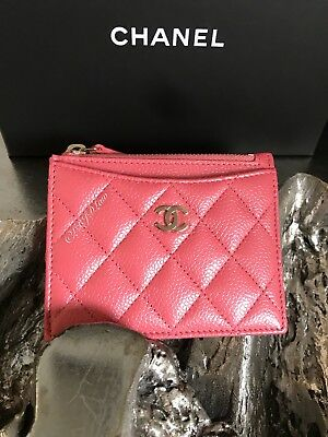 27b8166e7472 NWT CHANEL 2018 PINK Caviar GOLD CC Zip Card Case Cardholder O-Case PEARLY  18S