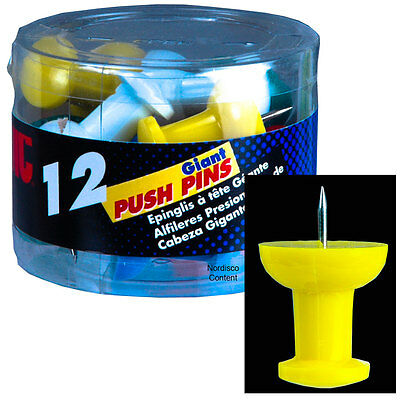 OIC 92902 Giant Push Pins, Assorted Colors, Tub of 12