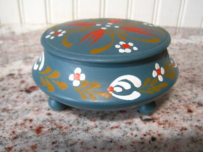 Vintage Carved Wooden Hand Painted Folkart Treenware Trinket Box Norway W/Lable