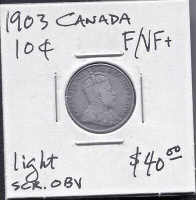 Canada - Beautiful Historical Edward Vii Silver 10 Cents, 1903 (Best Date)