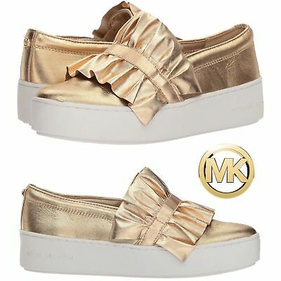 0e6a60eece54 Michael Kors  Bella  Ruffled Metallic Slip-On Sneaker Pale Gold Shoe Size  6.5