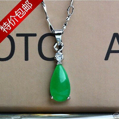 Hand-carved Chinese Insert Silver carving 100% Natural green Jade pendant