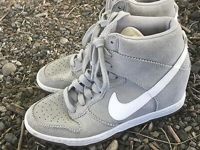 detailed look 6a16b f6285 Nike Dunk Sky Hi High Womens US Sz 8.5 Pale Grey 528899-003 Suede Wedge