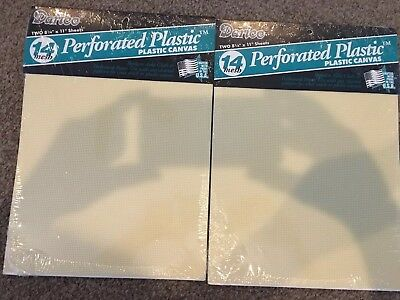 "Lot of 2 Packages =4 PERFORATED PLASTIC CANVAS 14 MESH 8 1/4"" X 11"" NEW Yellow"