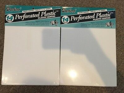 "Lot of 2 Packages =4 PERFORATED PLASTIC CANVAS 14 MESH 8 1/4"" X 11"" NEW White"