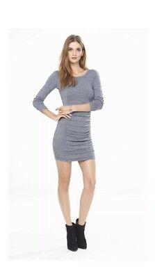 8365d9c88e8 Express Women s Long Sleeve Cut Out Back Sweater Dress Size M Gray black