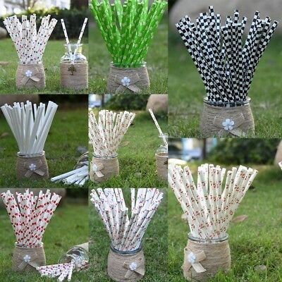 Disposable Drinking Environmental Paper Straws Striped Dot Decoration Supplies