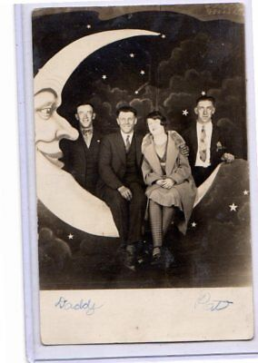 Real Photo Postcard RPPC - Three Men and Woman on Paper Moon Studio Prop