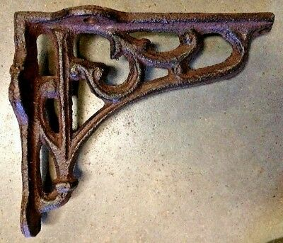 SET OF 2 LATTICE SHELF BRACKET BRACE Rustic Antique Brown Cast Iron corbel