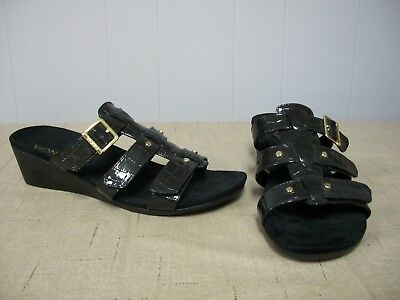 7d895f0a37bc Womens Size 9 VIONIC Black Croco ORTHAHEEL Wedges RADIA Orthotic Sandals  Slides