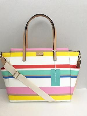 KATE SPADE KAYLIE Grove Street Diaper Bag Baby Dune Striped Tote + MAT NWT