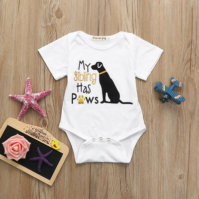 Cotton Toddler Baby Unisex Boys Girls Letter Dog Romper Jumpsuit Clothes Outfits