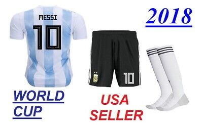 7f627f459 New Argentina Messi  10 World Cup 2018 Home Kids Jersey   Shorts Set Youth  Sizes