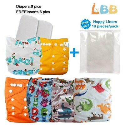 Reusable Baby Cloth Pocket Diapers Nappy Inserts One Size Lot Adjustable Nappies
