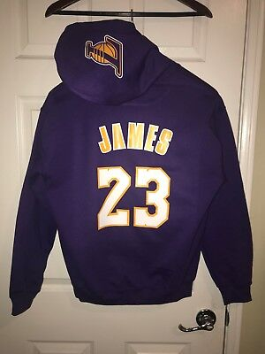 2a18ae635 LA Los Angeles Lakers Lebron James Away Jersey Hoodie Hoody Hooded  Sweatshirt