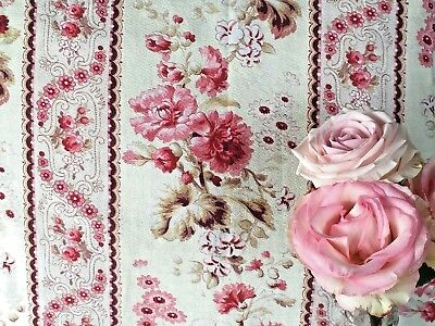 Antique French Fabric Pink Peonies Cotton Material Shabby Roses