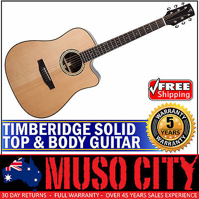 New Timberidge Solid Spruce Top Body Acoustic-Electric Dreadnought Guitar Gloss