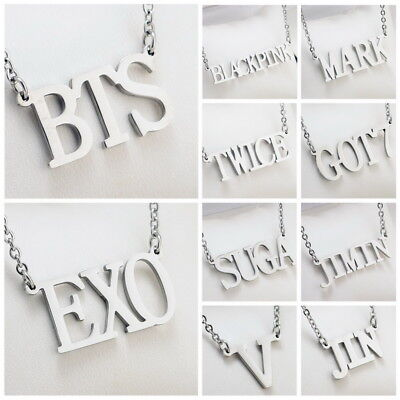KPOP NCT EXO GOT7 TWICE BLACKPINK WANNA ONE Letter Steel Pendant Necklace