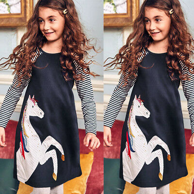 Girls Kid Children Dress Horse Print Long Sleeve Princess Cotton Clothes 1~6 Y