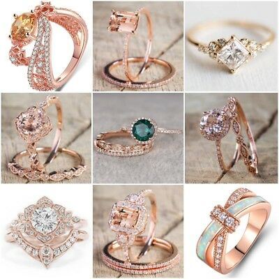Vintage 18K Rose Gold Filled Morganite Ring Wedding Bridal Women Jewelry Sz 6-10