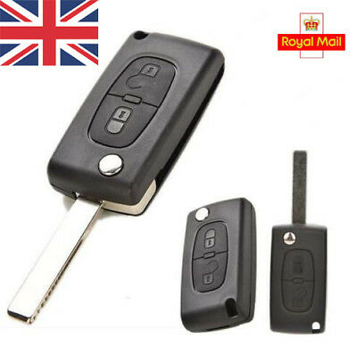 UK 2 Button Replacement Flip Key Fob Case Shell Blade For PEUGEOT 207 307 308