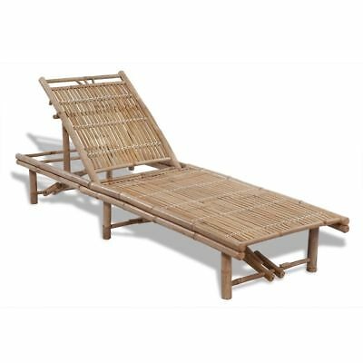 Sunlounger Bamboo Adjustable Day Bed Lounge Chair Garden Pool Side Outdoor Deck