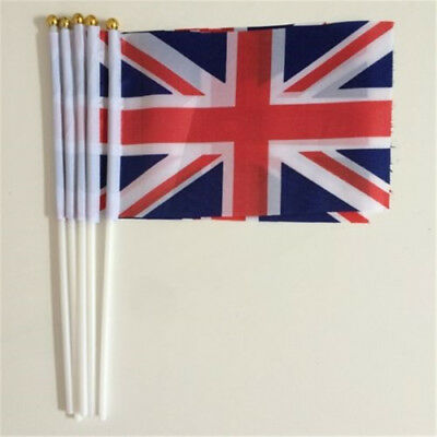 100 x Union Jack Hand Waving Flag Royal Jubilee UK GB Great Britain Flags Party