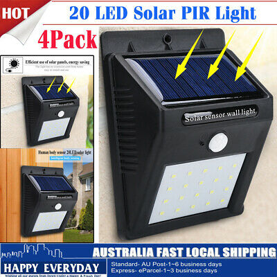 4Pack 20 LED Outdoor Solar Powered PIR Motion Sensor Security Shed Wall Light