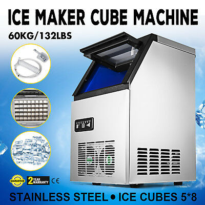Ice Cube Making Machine Commercial 132lb/24h Ice Cube Maker Stainless Steel