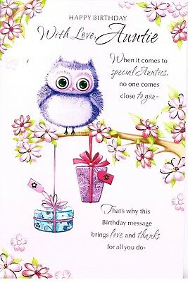 Auntie Birthday Card Cute Embossed Card With Insert You Ve Always