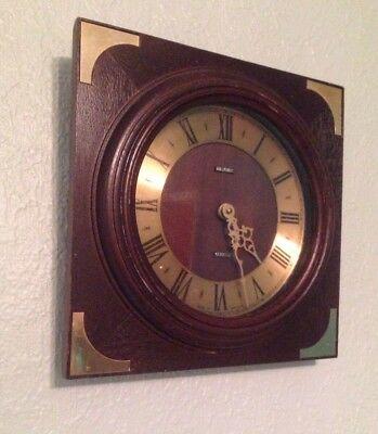 Vintage Retro Brown Metamec Kitchen Wall Clock - Wood With Brass 1970s