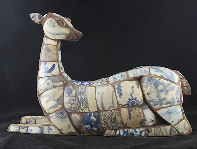 Unique Antique Chinese Deer made from Pieces of Antique Porcelain Vases