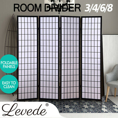 Solid Timber Wooden Frame 3/4/6/8 Panel Screen Room Divider White Sheet Stand AU