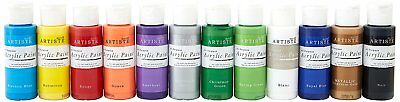Artiste Acrylic Paints Set of 12 Assorted Artiste Acrylic Paints Bundle